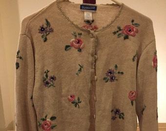Vintage Pendleton women's floral cardigan