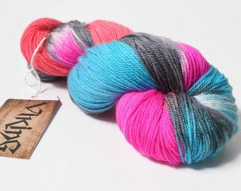 Hand Dyed Yarn - Hand Dyed Sock Yarn - Superwash Merino Wool/Cashmere/Nylon Hand Dyed in 'Graffiti'