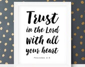Hostess Gift Trust in the Lord With All Your Heart Printable Verses for Kids Nursery Quotes Proverbs 3 5 6 Christian Gift Hostess Gift Ideas