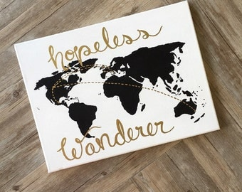 Hand painted map with gold lettering