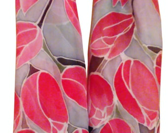 Hand Painted Silk Scarf- Tulips, 140 x 40 cm (55 x 15,5) inches