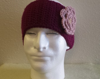 Womans Crochet raspberry/pink flower ear warmer.