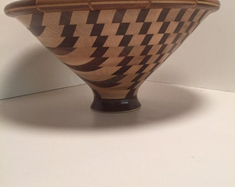 Artisan Wood Piece Hand Carved Geometric Walnut and Maple Bowl Free Shipping