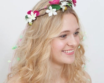 Flower Crown Pink Orchids