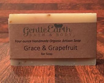 Grace & Grapefruit Certified Organic All Natural Soap, Handmade Soap, Cold Process Soap, Vegan Soap,