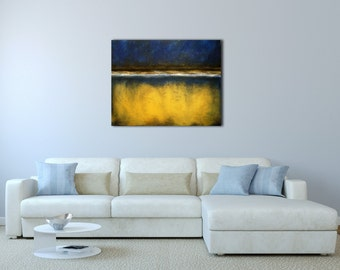 Blue & Gold Abstract painting on canvas / Minimalist landscape painting.