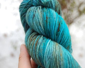 READY TO SHIP Hand Dyed Speckled Sock Yarn Superwash Merino Nylon: In Your Eyes