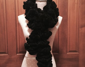 Hanf knitted black scarf 87""