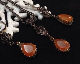 Carnelian Gemstones Necklace and Earrings set
