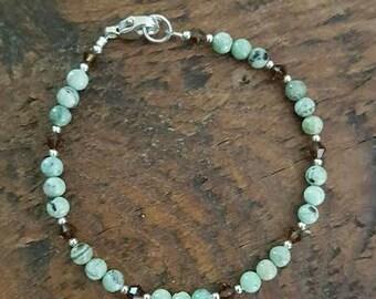Chrysoprase and Sterling Silver Beaded Bracelet