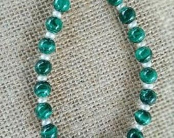 Malachite, Fresh Water Pearls and Sterling Silver Beaded Bracelet