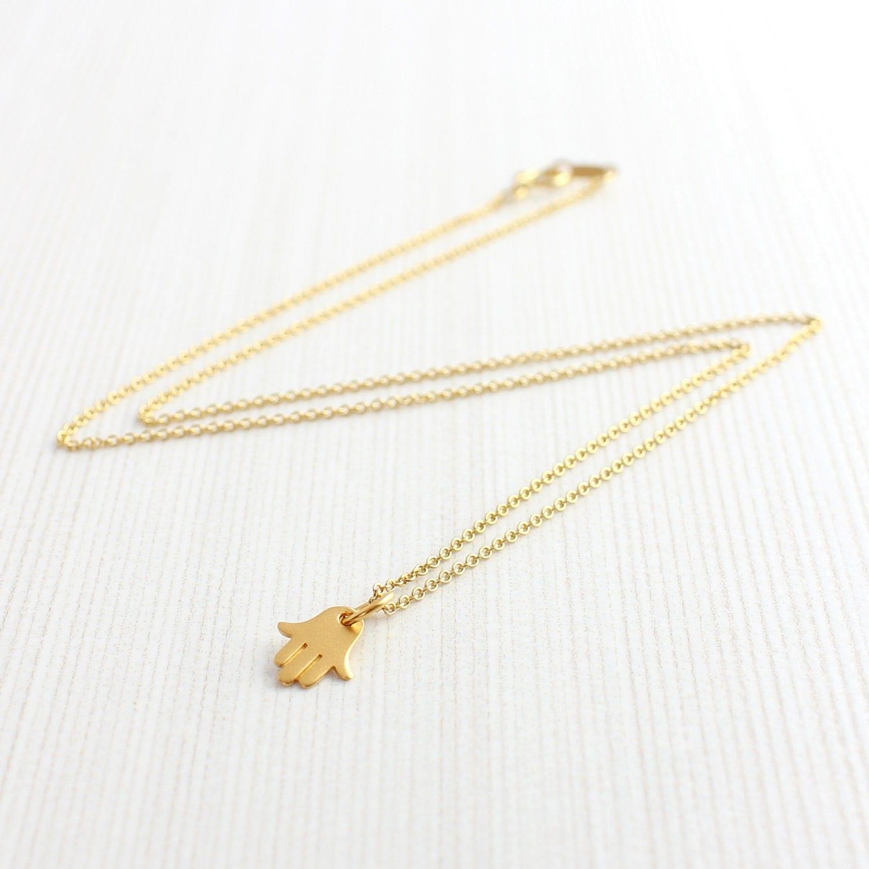 24k Gold Plated Mini Hamsa Hand Necklace Hamsa Charm Hamsa