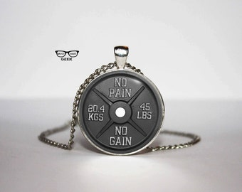 Barbell Necklace, No pain No gain pendant, Jym motivator necklace, Art Gifts, for Her, for him