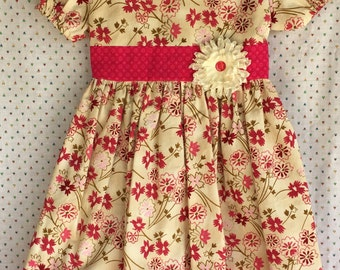 Pink Flowers on Beige  Dress