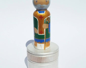 St. Patrick Peg Doll Rosary Box// Saint Statue