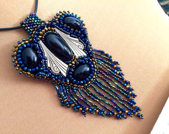 """embroidered pendant necklace beads and cabochons """"Modern style"""""""