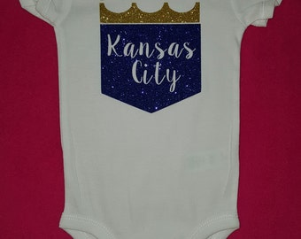 Kansas City Royals Baby Bodysuit, Creeper, One Peice, KC Royals, KC Royals Glitter, KC Royals Sparkle, Snapsuit, Snap-Tee