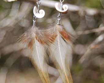 Rooster Feathers with Shell Beads