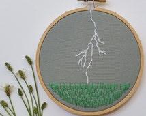 Thunderstorm Over Field. Embroidery Hoop Art.  Landscape. Kansas. Fiber Art. Hand Embroidered. Lightning