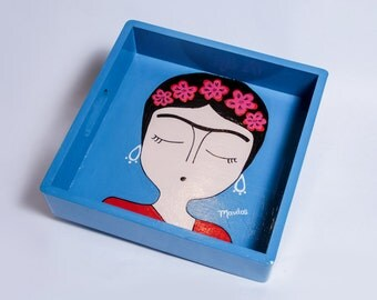 "Hand painted decorative tray ""Frida Khalo"" by Mavitos FREE SHIPPING"