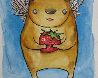 Original Watercolor Painting - Sweet Strawberry Bear