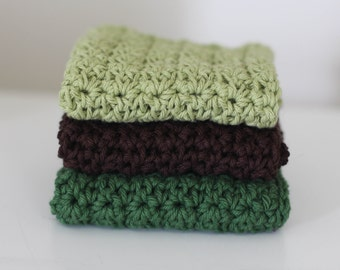Knit Dish Cloths- Green Dish Cloths- Cotton Dish Rag- Dish Towels- Wash Cloth - Choose your color - Set of 3 dish cloths, crochet dish cloth
