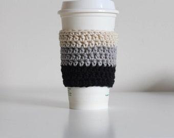Ombre black coffee cozy, silver coffee cozy, gray coffee cozy,  coffee cup sleeve, coffee cup cozy, vegan, cotton coffee cozy, minimalist