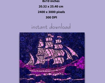 Instant Download, 8x10 inches, Sail Ship Abstract Purple Pink Circles Art Print (1011) Wall Art Downloadable Poster