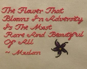 Custom Cross Stitched Quote