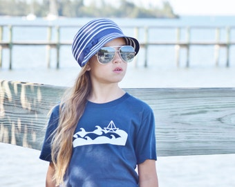 Screen printed graphic tee - organic cotton t-shirt - sustainable- eco friendly -anchor -nautical -sailboat- boys or girls tshirt-paper boat