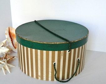 vintage green gold striped Vandevers Tulsa hat box vintage hat box storage box round box green gold gift box