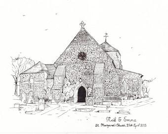 Wedding Venue illustrations - Custom hand drawn pen and ink illustrations