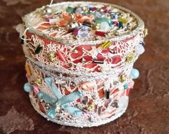 Vintage Handmade Trinket Box Batik, Lace, Ribbon, Beads