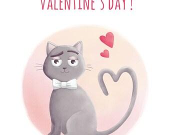 """PRINTABLE***Valentine's day card """"Cat in love"""""""