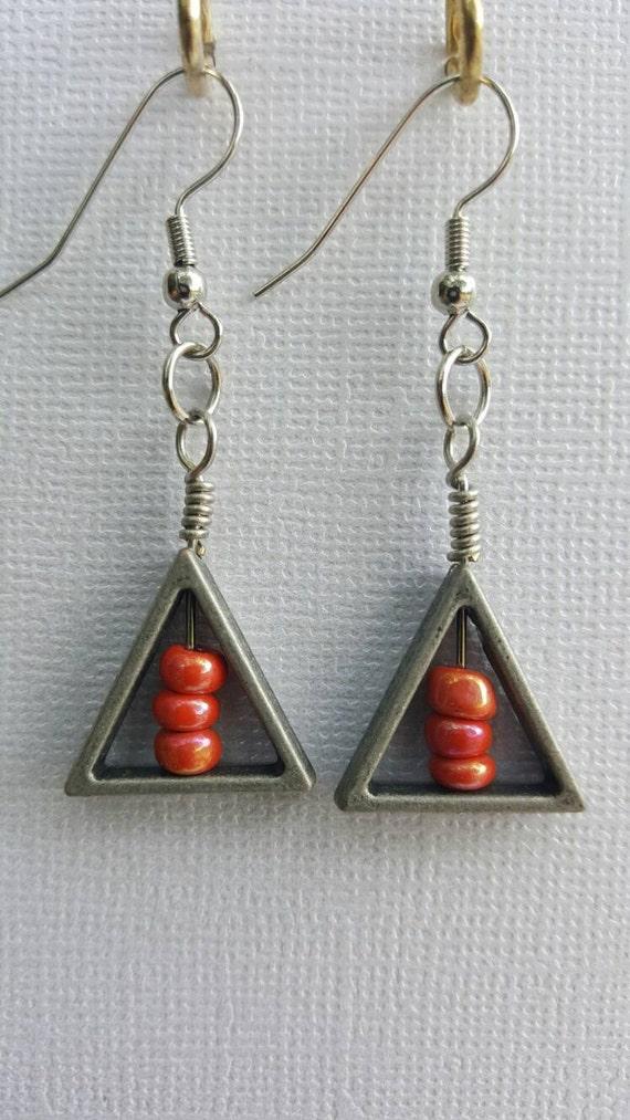 handmade triangle drop earrings dangle earrings handmade. Black Bedroom Furniture Sets. Home Design Ideas