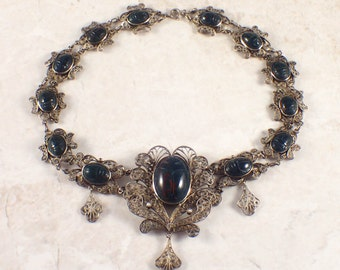 Sterling Silver Bloodstone Scarab Necklace