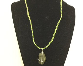Silver Fill Wire Wrapped Peridot Green Sea Glass Pendant