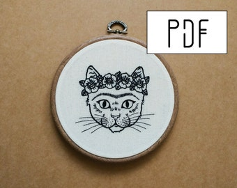 Frida Kahlo Cat Hand Embroidery Pattern (PDF modern embroidery pattern)