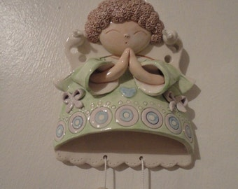 Ceramic wall decor angels with hanging shoes - Baptism gift - Home decor - MADE TO ORDER