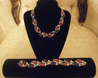 Purple and Mauve Thermoset Necklace and Bracelet Set