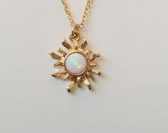 White Opal Sun Necklace. Gold Necklace. Opal Necklace. Double Chain Bracelet.