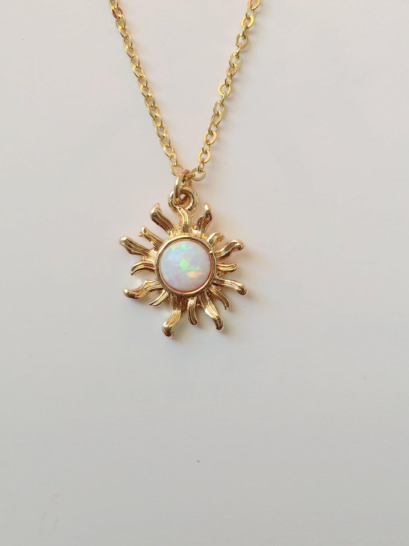 White Opal Sun Necklac...
