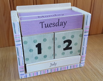 Calendar, wood block perpetual calendar, wood decoupage, desk top calendar