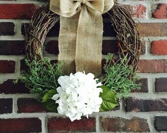 Spring Wreath for Front Door-Hydrangea Wreath French Country-Spring Wreath-Door Wreath-Everyday Wreath-Summer Wreath-Unique Wreath-Wreath