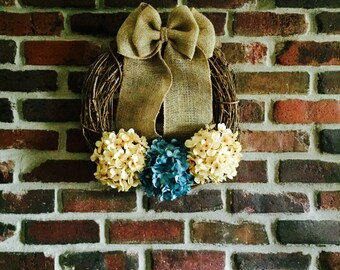 Blue Hydrangea Wreath-Spring Wreath-Front Door Wreath-Everyday Wreath-Summer Wreath-Hydrangea Wreath-Year Round Wreath-Rustic Wreath