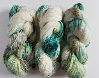 BEACH GLASS- Speckled Superwash Sock Yarn- Hand Dyed Superwash Merino Nylon- 462 yards