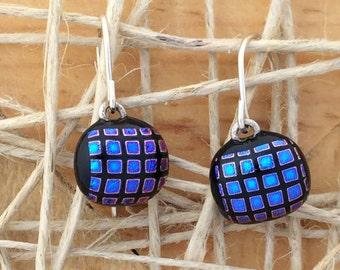 disco dicro fused glass earrings