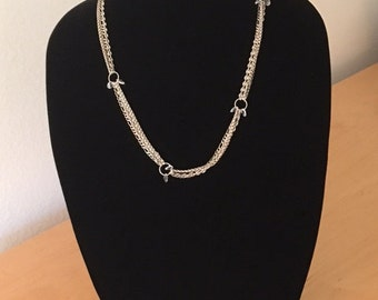 Sterling Silver Multi Strand Necklace with Swarovski Crystals