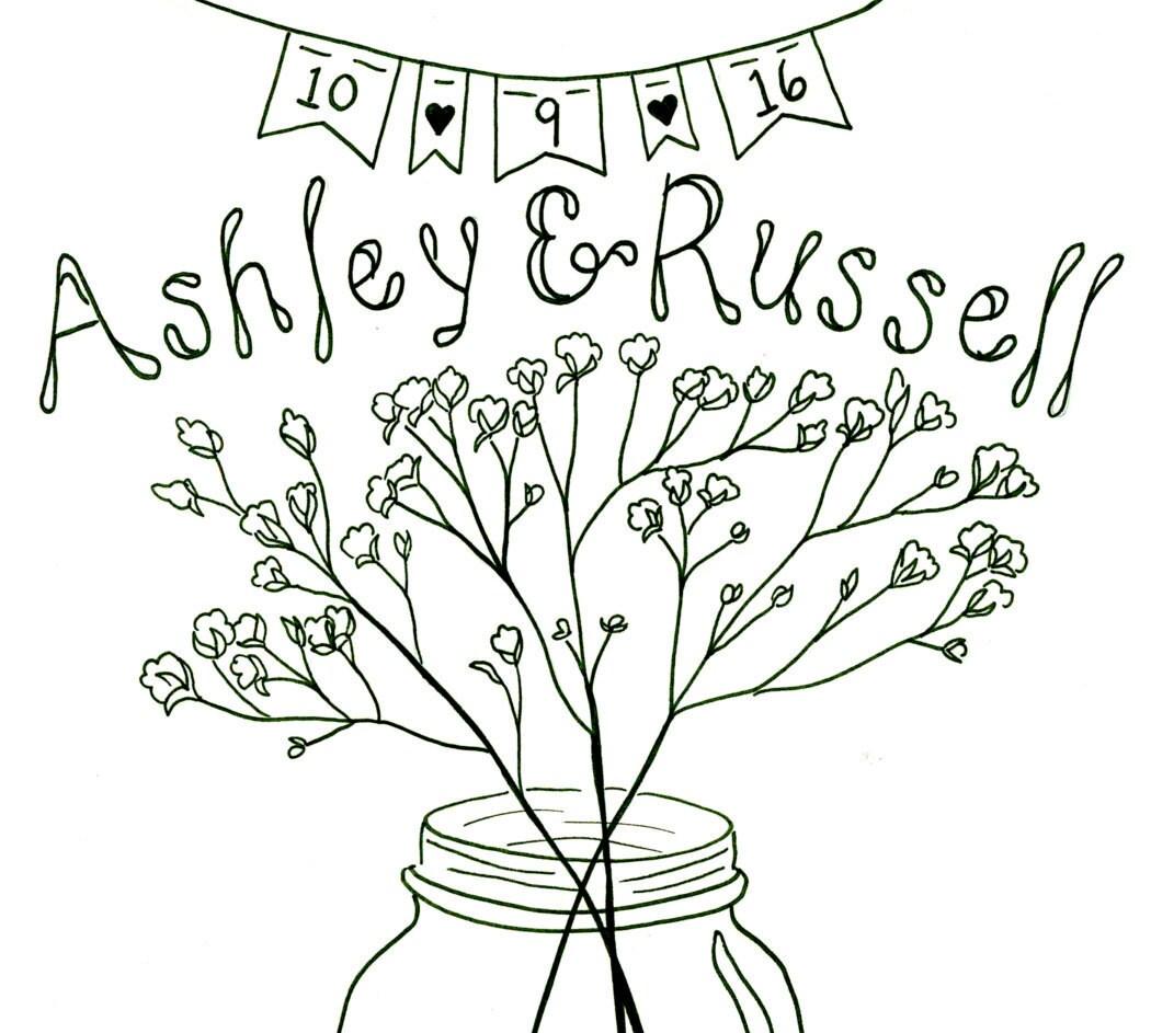 PRINTABLE Custom Wedding Coloring Book By PetuniaPaints On Etsy
