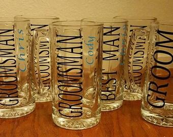 Personalized Groomsmen Beer Mugs - Personalized Wedding Beer Mug - Custom Groomsmen Glass Beer Mug - Custom Groomsman Beer Mugs